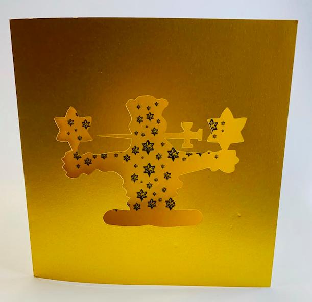 Découpe sur mesure - Carte de voeux carrée - Vernis sélectif 3D - Papier Sirio Aurum